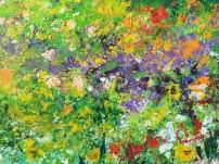 Flower Meadow, 2015, Acrylic on metal board, 36 x 48 in, detail