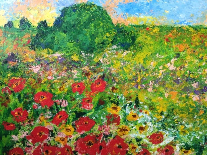 Flower Meadow, 2015, Acrylic on metal board, 36 x 48 in (Private Collection, NYC)