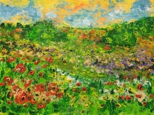 Flower Meadow (study 1), 2015, Acrylic on canvas, 8 x 10 in