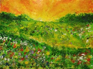 Flower Meadow (study 2), 2015, Acrylic on canvas, 8 x 10 in
