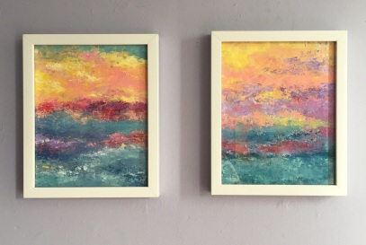 Sunset Over Miami I and II, MCB series, 2017, Acrylic on canvas, 8 x 10 in (9 x 11 in framed) each
