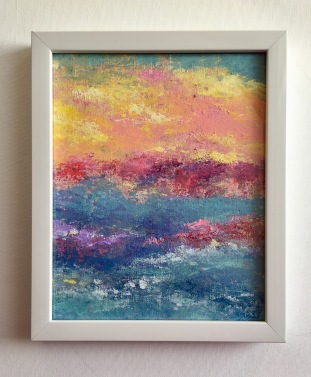 Sunset Over Miami I, MCB series, 2017, Acrylic on canvas, 8 x 10 in (9 x 11 in framed)