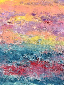 Sunset Over Miami II, MCB series, 2017, Acrylic on canvas, 8 x 10 in (9 x 11 in framed), detail