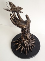 The Tree of Life, 2014, Plaster, metal wire, wood, acrylic paint, 10 x 15 x 15 in